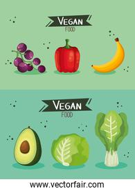 set of vegan food poster with vegetables and fruits