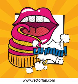 poster pop art style with female mouth eating cupcake
