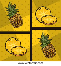 poster pop art style with pineapples