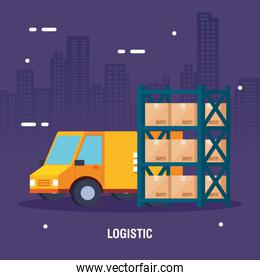 delivery service van and warehouse metal shelving with boxes