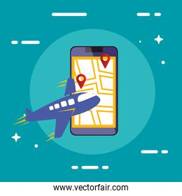 smartphone with map and airplane