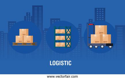 logistic poster with boxes packages cargo