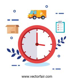clock with set icons logistic service