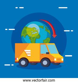 delivery service van with world planet isolated icon