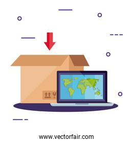 box package and laptop with map