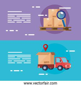set poster of delivery logistic service with icons