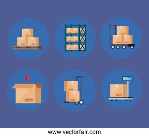 set of boxes carton packages