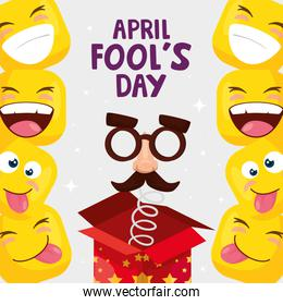 april fool day cartel with emoticones and icons