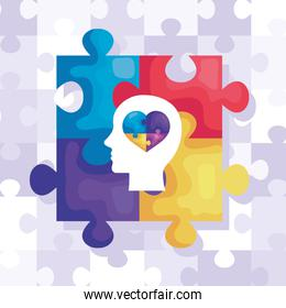 set of puzzle pieces and head profile with heart