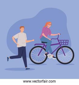 couple with bike avatar character