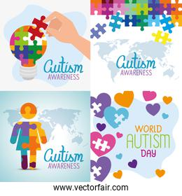 set poster of world autism day with decoration