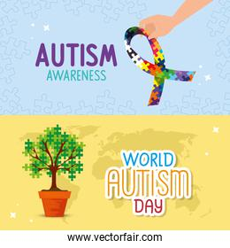 set cartel of world autism day with decoration