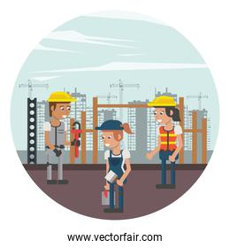 group of builders working under construction scene