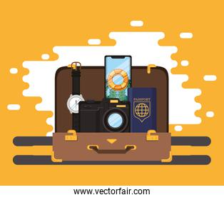 world travel scene with suitcase and set icons