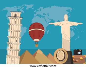 world travel scene with corcovade christ