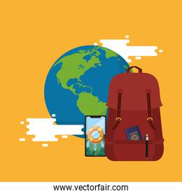 world travel scene with earth planet and icons