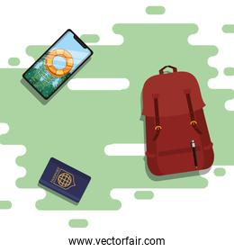 world travel scene with smartphone and icons