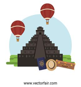world travel scene with pyramid and icons