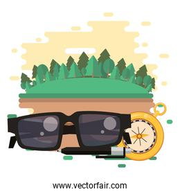 world travel scene with sunglasses and icons