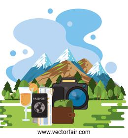 world travel scene with set icons in the landscape