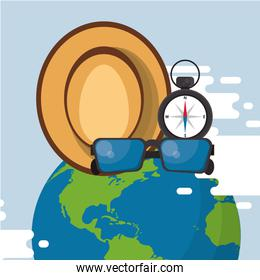 world travel scene with earth planet