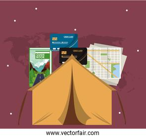 world travel scene with tent camping