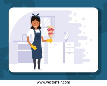 woman worker housekepping with duster