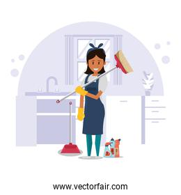 woman worker housekepping with broom character