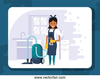 woman worker housekepping with vacuum cleaner