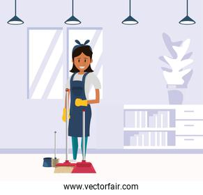 woman worker housekepping with broom
