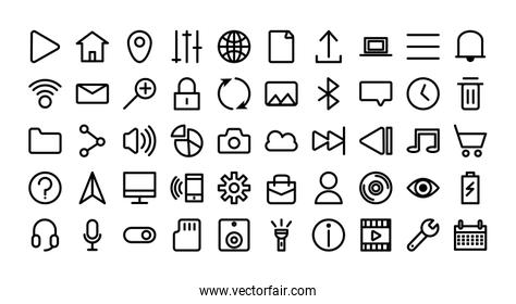 bundle of user interface set icons