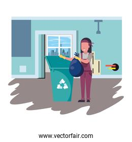 housekepping woman worker with garbage pot