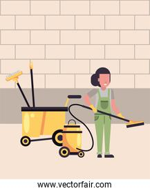 housekepping woman worker with vacuum cleaner
