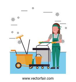 housekepping woman worker with clean equipment