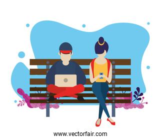 young couple using device with social media app