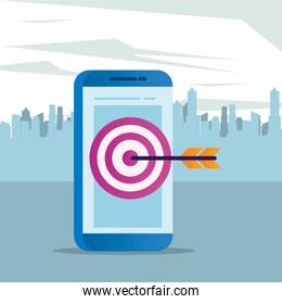 smartphone electronic with target arrow
