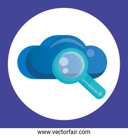 cloud computing server with magnifying glass