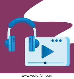 media player template with play button and earphones