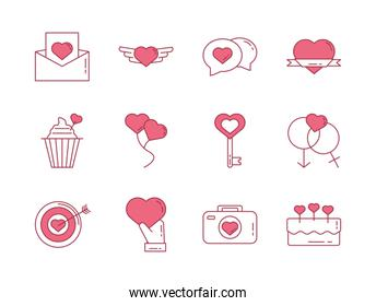 bundle of happy valentines day set icons