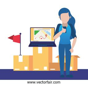 woman using smartphone and laptop avatar character