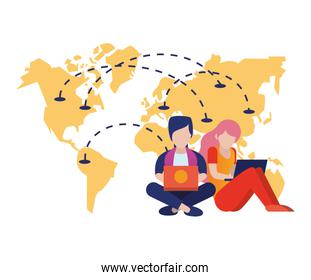 young couple using laptop with world map
