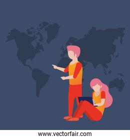 young couple using laptop avatars characters
