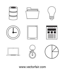 business and statistics set icons
