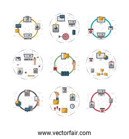bundle of electronics devices and infocharts icons