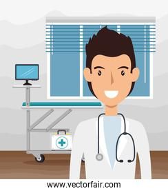 doctor male with stethoscope in consult room