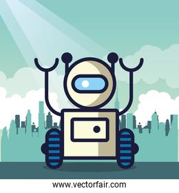 robot with wheel technology icon