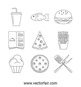 bundle of restaurant set icons