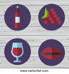 wine cup and bottle with grapes fruits