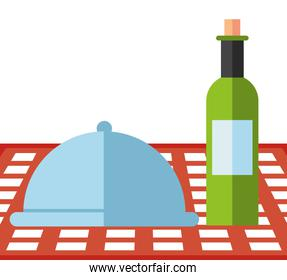 wine bottle drink with tray server