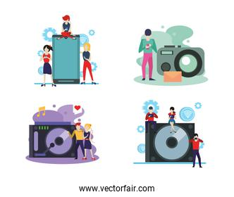 electronic devices and mini people characters
